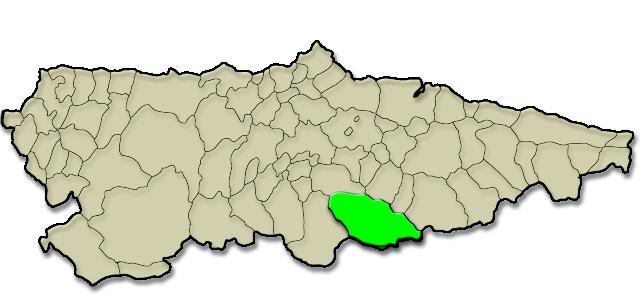 Mapa de situación. Sociedad «Humanitarios de San Martín» y pueblo de Moreda, Premio al Pueblo Ejemplar de Asturias 2007