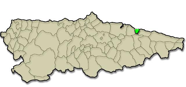 Mapa de situación. Playa La Espasa (La Espasa - Caravia)