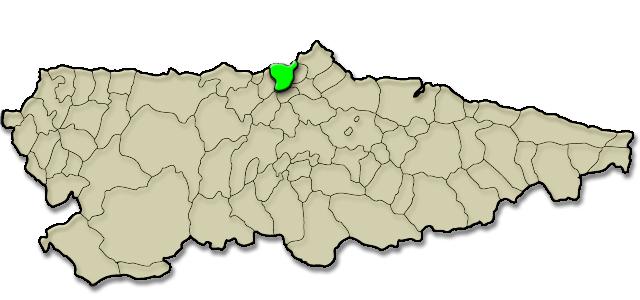 Mapa de situación. Ruta la Senda Norte en el concejo de Castrillón