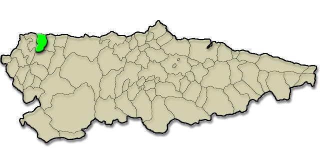 Mapa de situación. Viavelez (A Caridá - El Franco)