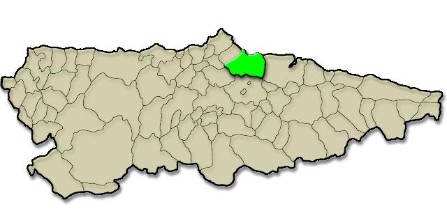 Mapa de situación. Monumento Natural: Carbayera de El Tragamón