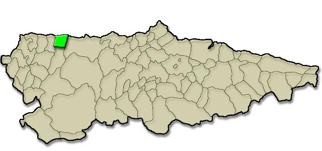 Mapa de situación. Playa de Navia