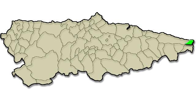 Mapa de situación. Colombres, Premio al Pueblo Ejemplar de Asturias 2015