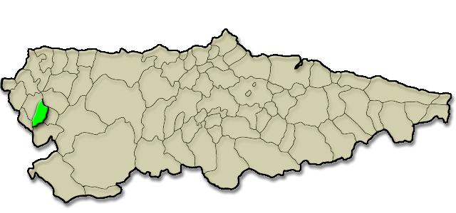 Mapa de situación. Comarca de Los Oscos, Premio al Pueblo Ejemplar de Asturias 2016 (San Martín de Oscos)