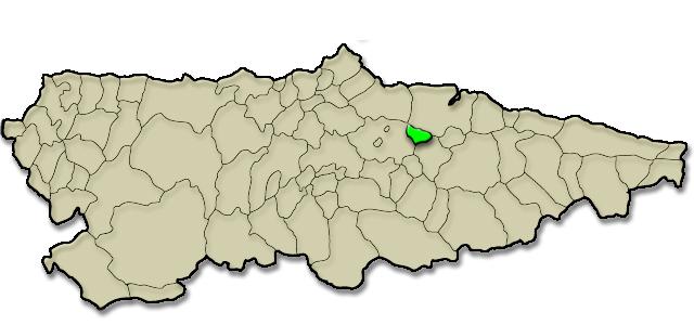 Mapa de situación. Comunidad vecinal de Sariego, Premio Pueblo Ejemplar de Asturias 2006