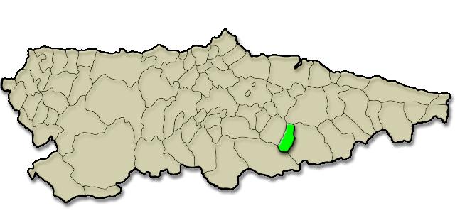 Mapa de situación. Comunidad vecinal de Sobrescobio, Premio al Pueblo Ejemplar de Asturias 2009