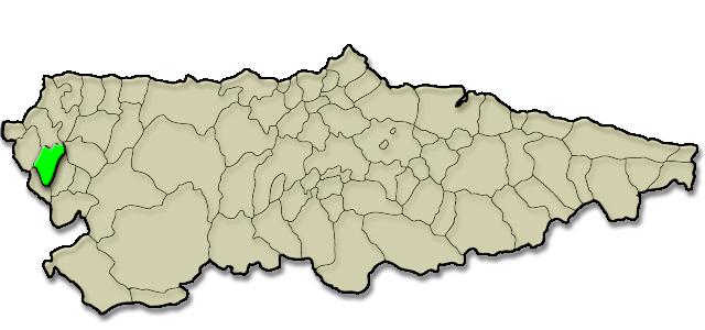 Mapa de situación. Comarca de Los Oscos, Premio al Pueblo Ejemplar de Asturias 2016 (Villanueva de Oscos)